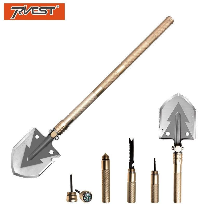 Multifunctional Military Shovel Folding Pocket Knife Survival Shovel Outdoor Camping Gardening Plant Tools Golden Multitool