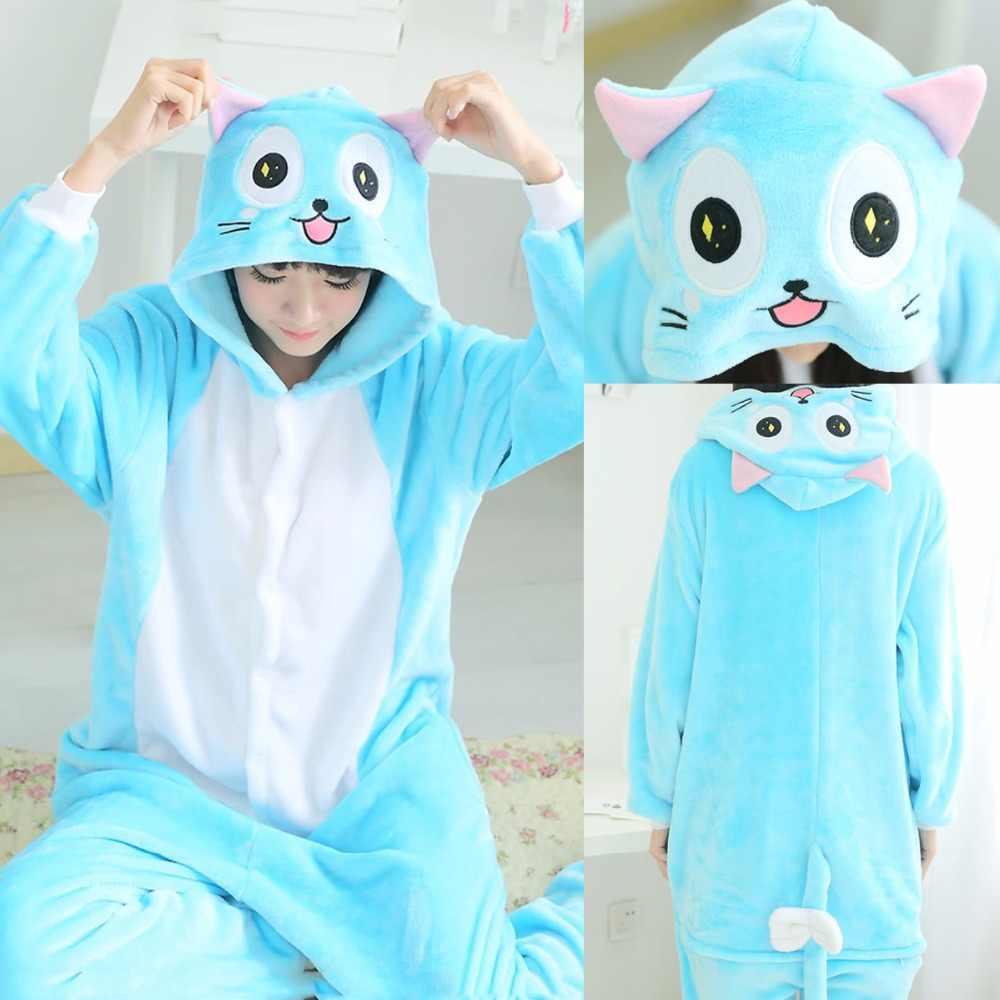 Зимние для взрослых женщин мужчин животных Аниме Fairy Tail Luna синий  Habbie Cat пижамы Хэллоуин Рождество 2b354d84c4eec