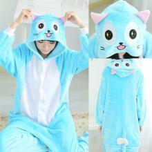 16585d921f0 Winter Adult Women Men Animal Anime Fairy Tail Luna Blue Habbie Cat Pajamas  Halloween Christmas Onesies Cosplay Pijamas Fleece