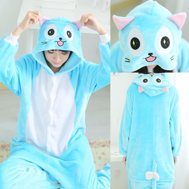 Winter Adult Women Men Animal Anime Fairy Tail Luna Blue Habbie Cat Pajamas  Halloween Christmas Onesies Cosplay Pijamas Fleece ecc6385538