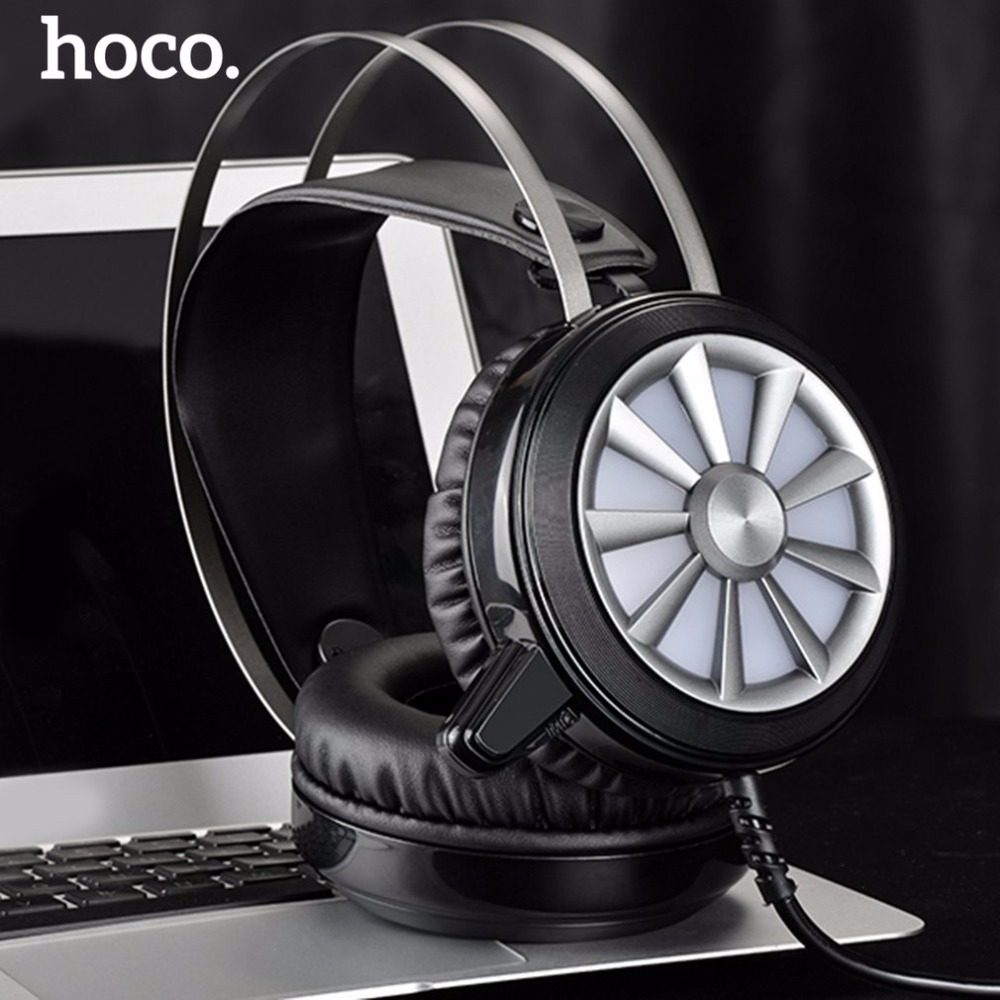 HOCO W7 Wired Gaming Headphones Gamer Headset For Computer Game With Microphone Earphones Soft Ear Pad Noise Canceling rgb light wired game headset usb 7 1 earphone gaming headphones with microphone for pc computer gamer high quality voice control