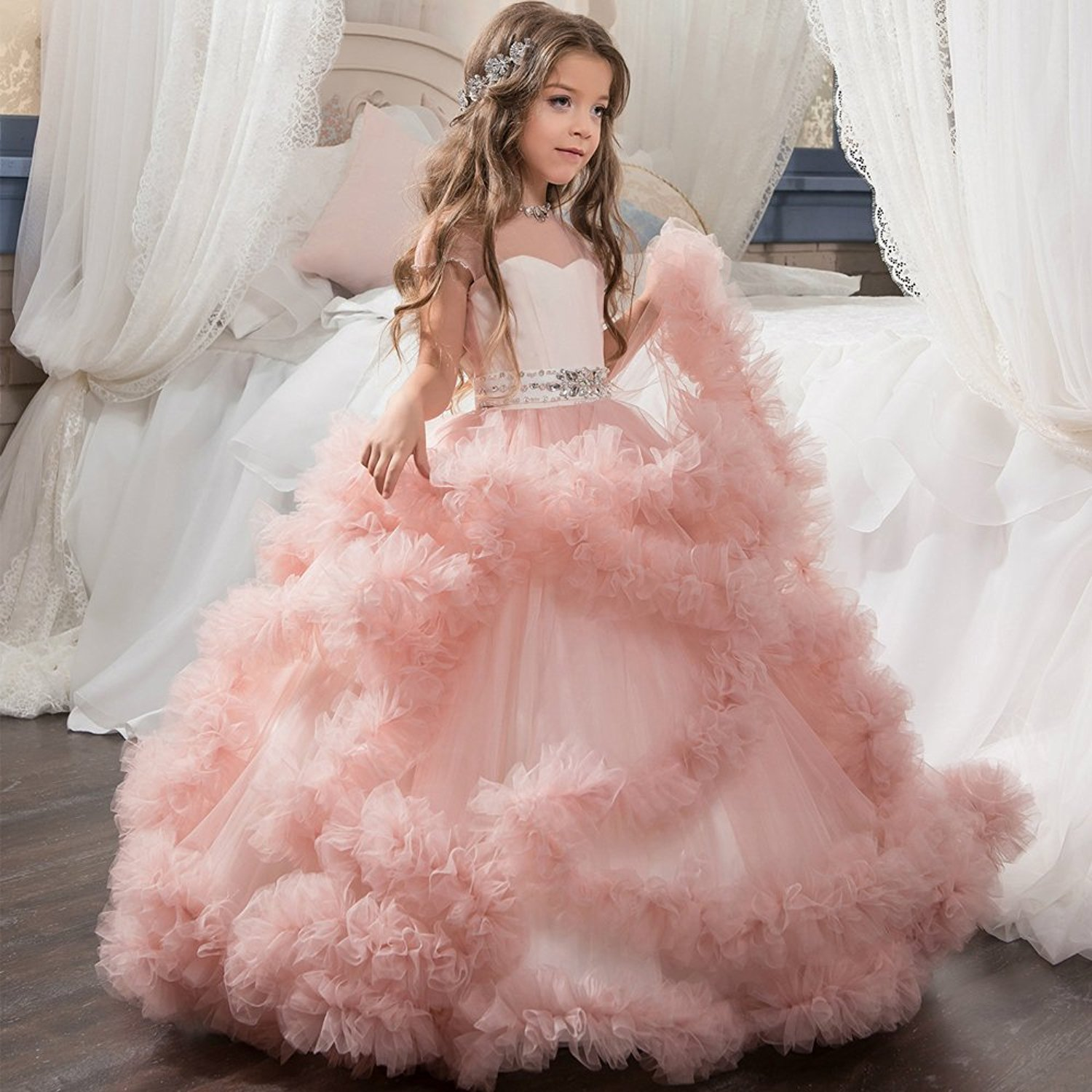 Puffy Pink   Flower     Girls     Dresses   A-line Ruched Tulle Formal Kids Wear For Wedding Pageant For Little   Girl   Sheer Bodice