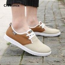 Cresfimix men fashion comfortable lace up grey shoes male plus size mesh breathable outside shoes man's outside shoes a2698
