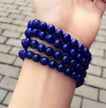 free shipping Natural Lapis Lazuli Royal Blue Gemstone 108 Prayer Beads Bracelet 8mm AAAA