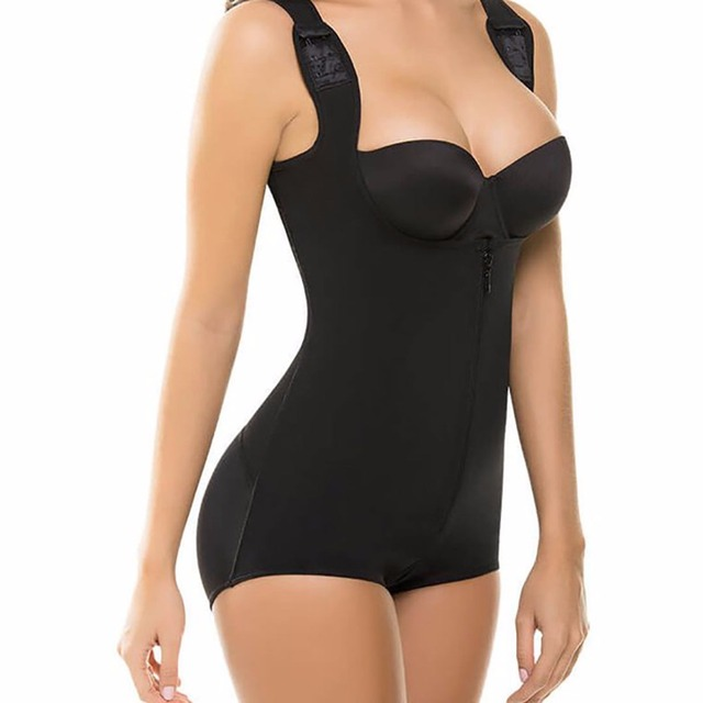cbe3062038 S-3XL Zip up Tummy Control Slimming bodysuit body shaper Waist trainer with butt  lifter butt enhancer for post partum women E113