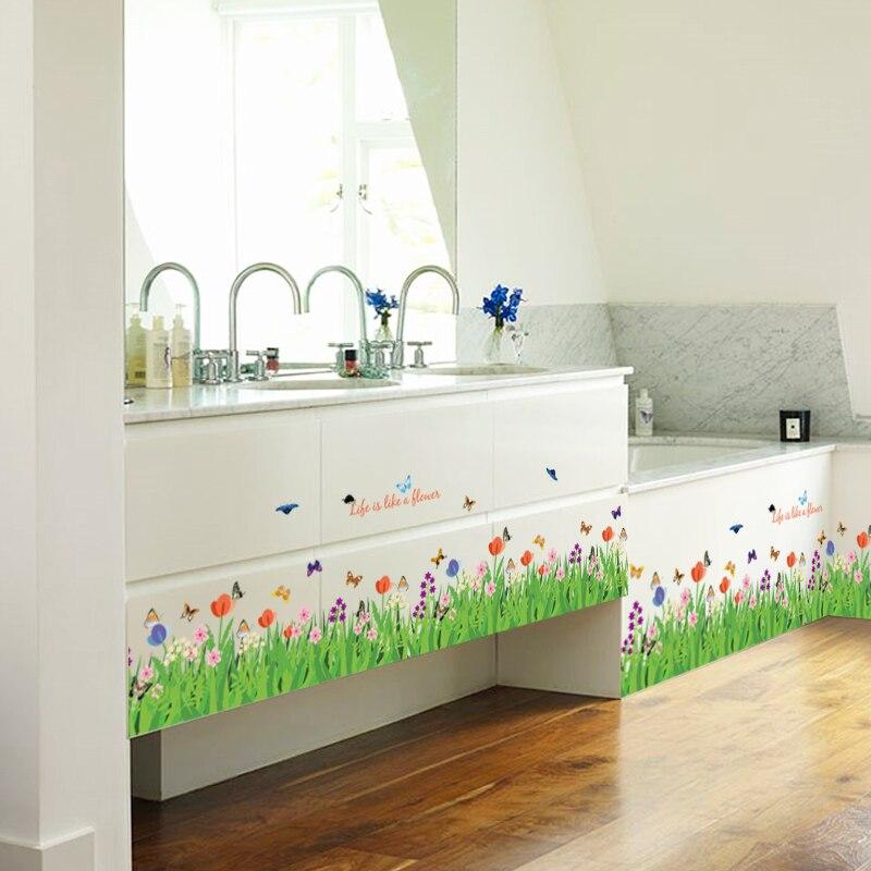 DIY Greenbelt Butterfly Flowers Baseboard Sticker Bedroom