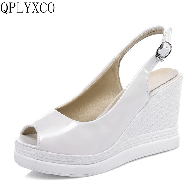 QPLYXCO New Plus Big size 34-43 Women shoes wedges high heels sandals fashion Summer Shoes woman Platform zapatos mujer C9-11 summer shoes woman platform sandals women soft leather casual open toe gladiator wedges women nurse shoes zapatos mujer size 8
