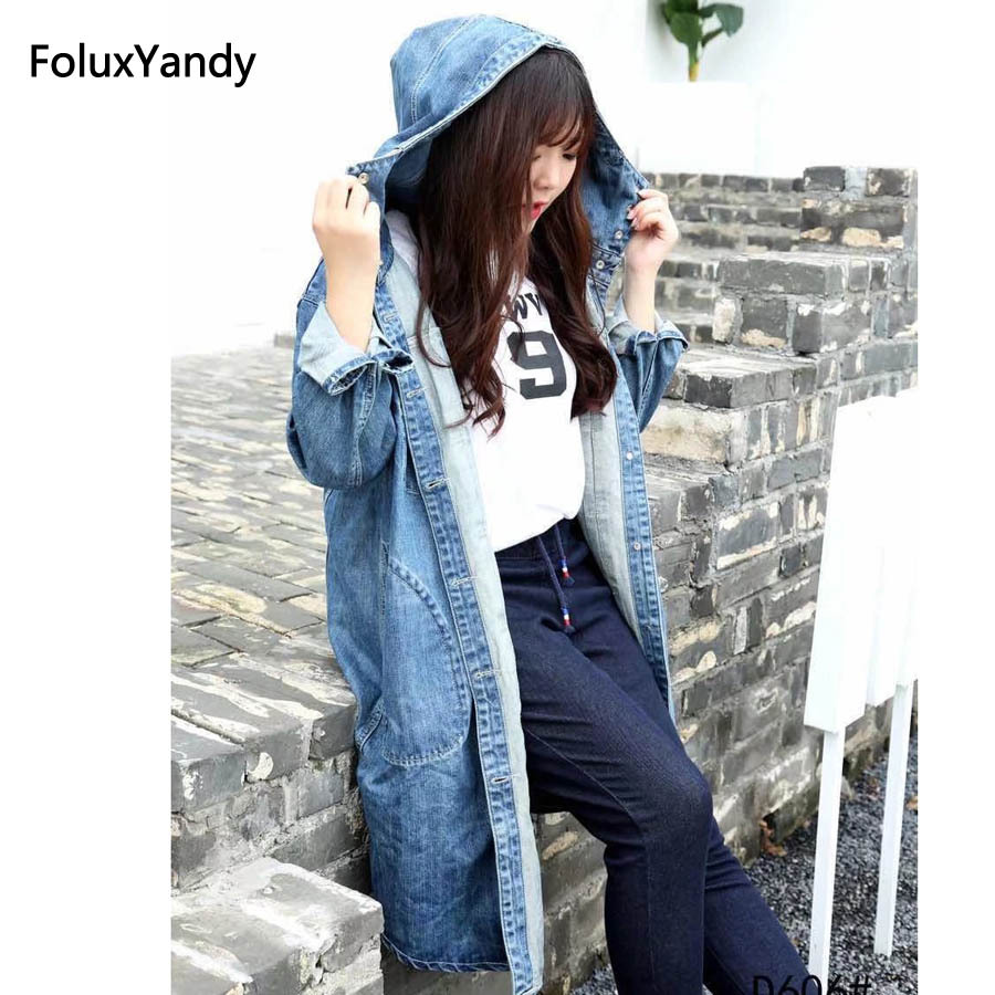 Hooded Denim   Trench   Coat for Women Plus Size Casual Female Long   Trench   Blue Outerwear KKFY943