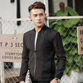 A nova listagem da Marca Dos Homens Casual Jaquetas Slim Fit Outwear Zipper Clássico de Negócios de luxo preto casacos Jaqueta de Gola Mandarim