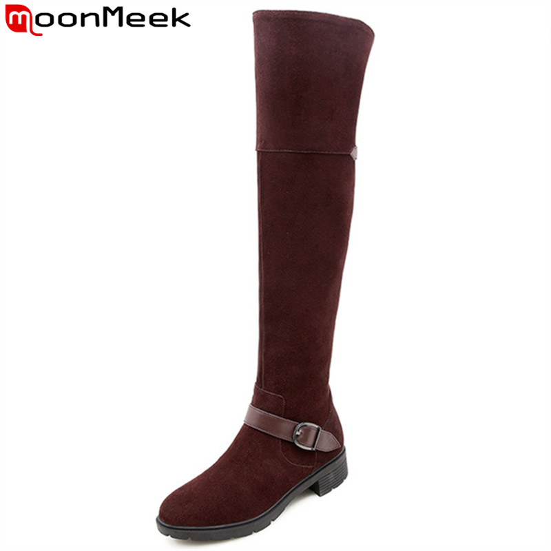 MoonMeek 2018 fashion autumn winter boots round toe zip suede leather boots med heels over the knee boots buckle ladies shoesMoonMeek 2018 fashion autumn winter boots round toe zip suede leather boots med heels over the knee boots buckle ladies shoes