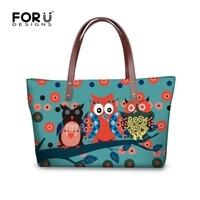 FORUDESIGNS Big Female Handbags Cartoon Retro Owl Printed Women Lady Shoulder Bags Daily Shopping Beach Tote Bolsas Wholesale