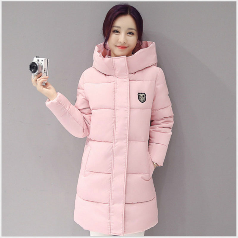 Fashion   Down   jacket woman hooded   coats   white pink Thicken warm winter snow long womens jackets overcoat women   coat   plus size