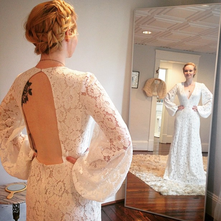 puff long sleeve lace sexy backless deep v-neck 2018 new hot a-line vestido de noiva robe de mariage mother of the bride dresses