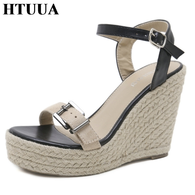 978ff96947a3f HTUUA 2018 New Ankle Strap Buckles Wedge Sandals Women Summer Platform  Sandals High Heels Casual Peep