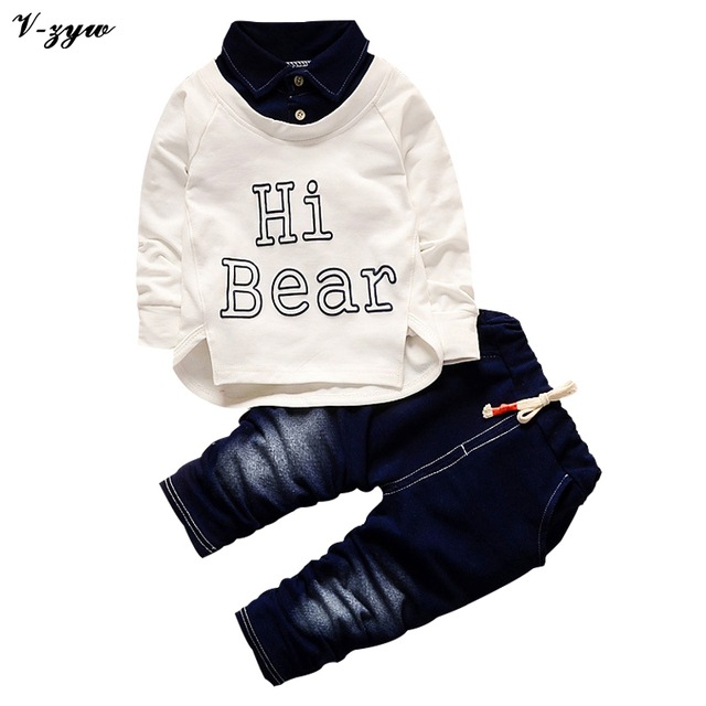 New Spring Boys Clothing Sets Kids Coat T-Shirt+Pants 2 Pcs Children Casual Suits Baby Boys Letter Kindergarten Clothes Set