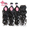 "Queen Hair Products Malaysia Virgin Human Hair Natural Wave,1 Piece Lace Closure with 3Pcs Hair Bundle 12""-28"" DHL Free Shipping"