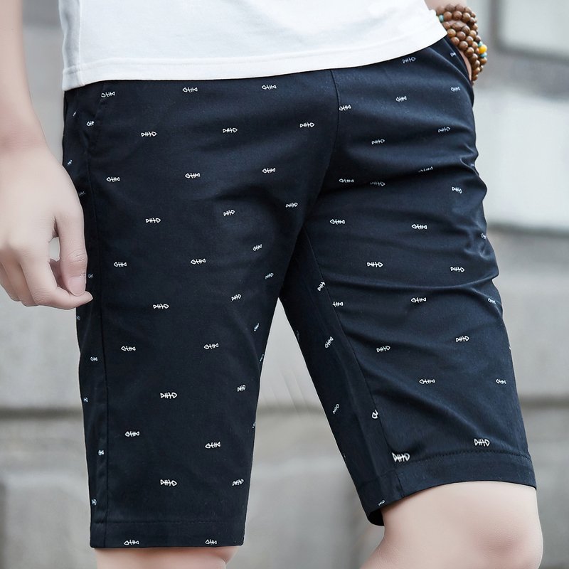 2019  Mens Beach Shorts Cotton Summer Board Shorts Men Casual Solid Cotton Shorts Fashion Printed Waist Shorts Man Straight