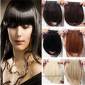 100% Natural Straight Front Neat Bang Gorgeous Clip on Fringe Hair Extensions Hot Wholesale 11 COLORS US FAST Free Shipping