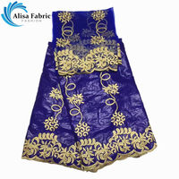 Royal Blue 5yards African bazin riche getzner lace Fabric embroidered with stones+2yards Tulle lace fabric for patchwork sewing