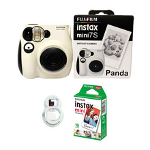 100% 정통 Fujifilm Instax Mini 7s 인스턴트 포토 필름 카메라, 10 매 후지 Instax 미니 화이트 필름 및 셀카 렌즈 포함