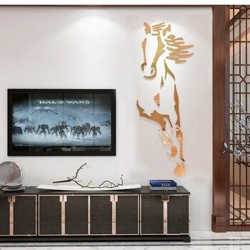 Neue Ankunft Pferde Wohnzimmer Acryl 3d Wand Aufkleber Restaurant