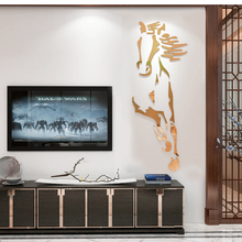 New arrival Horses Living room Acrylic 3d Wall Sticker Restaurant Background wall decoration Creative mirror stickers