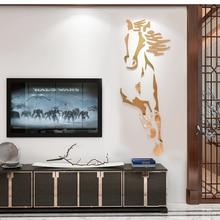 New arrival Horses Living room Acrylic 3d Wall Sticker Restaurant Background DIY art wall decor Creative mirror wall sticker