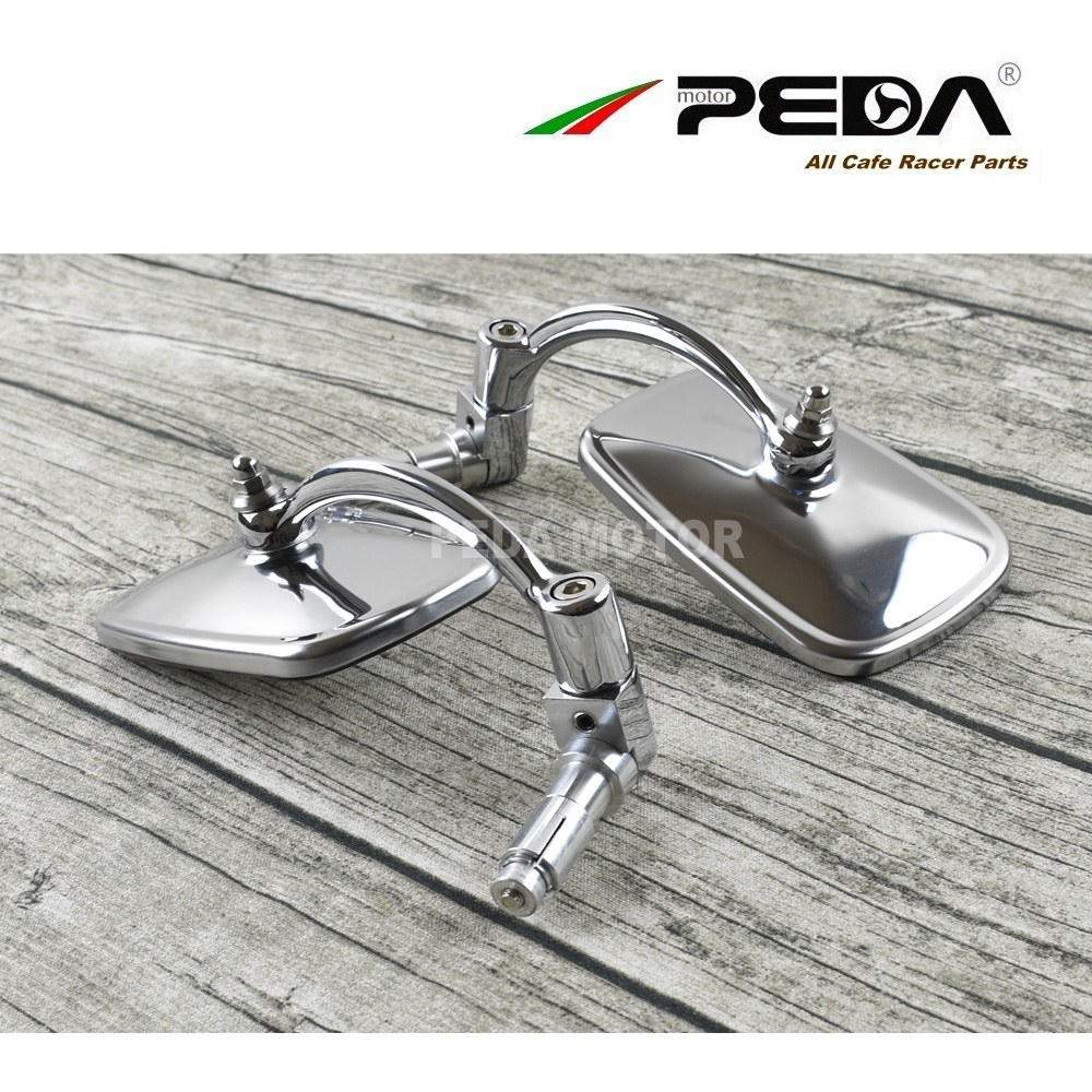 PEDA 2018 Cafe racer parts vintage mirror Square stainless steel motorcycle vintage sideview rear view mirror set