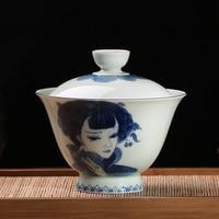 150ML Jingdezhen Blue and White Porcelain Gaiwan Vintage Drinkware Collection Hand Painted Green Glaze Beauty Tea Pot Teapots