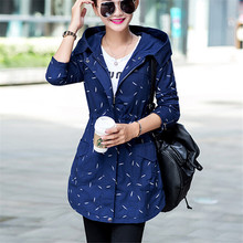 2016 New Fashion Women Trench Coat Medium Long Elegant Hooded Outwear Slim Female Trench Outwear Causal Windbreake plus size