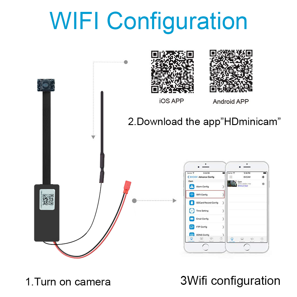 New 1080P DIY Mini Wifi Camera P2P 128G TF Card slot video Recording Motion Detection Security Camera with IR in Mini Camcorders from Consumer Electronics