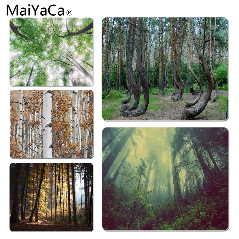 MaiYaCa Non Slip PC Crooked Forest Computer Gaming Mousemats Size for 18x22cm 25x29cm Rubber Mousemats