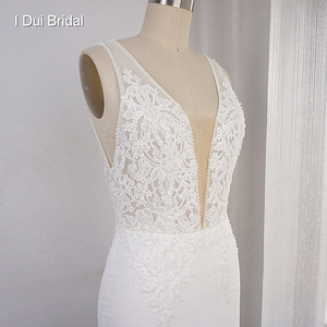 Image 4 - Deep V Neckline Wedding Dress Sheath Chiffon Lace Elegant Bridal Gown