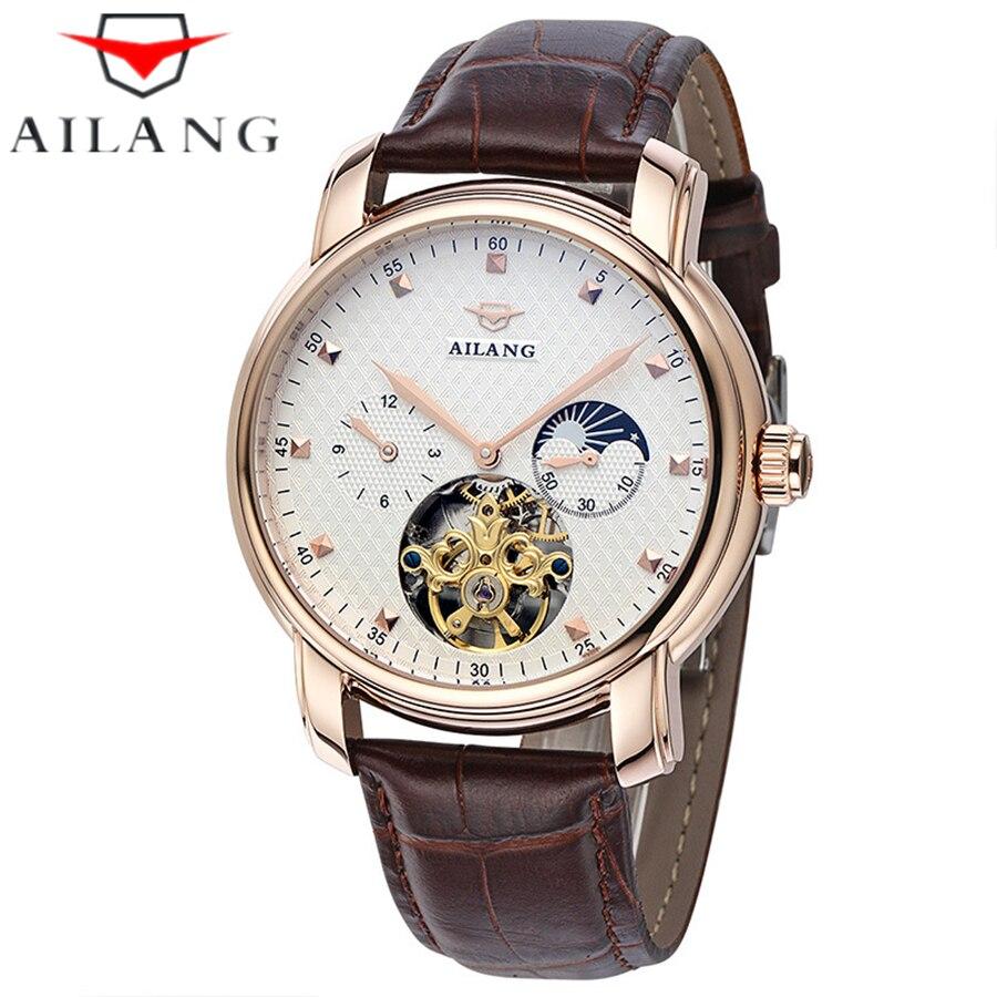 Famous Luxury Brand AILANG Tourbillon Moon Phase Mechanical Watch Business Men Mechanical Wrist Watch Automatic Mechanical watch цена и фото