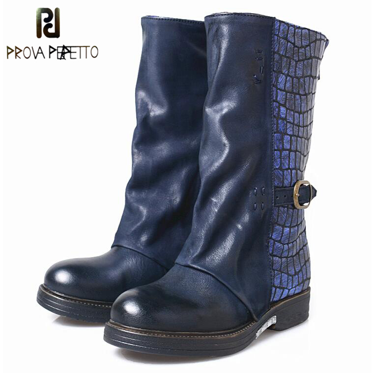 Prova Perfetto Retro Genuine Leather Buckle Decorated Woman Mid-calf Boots Round Toe Casual Shoes Low Heels Woman Knight Boots riding boots chunky heels platform faux pu leather round toe mid calf boots fashion cross straps 2017 new hot woman shoes