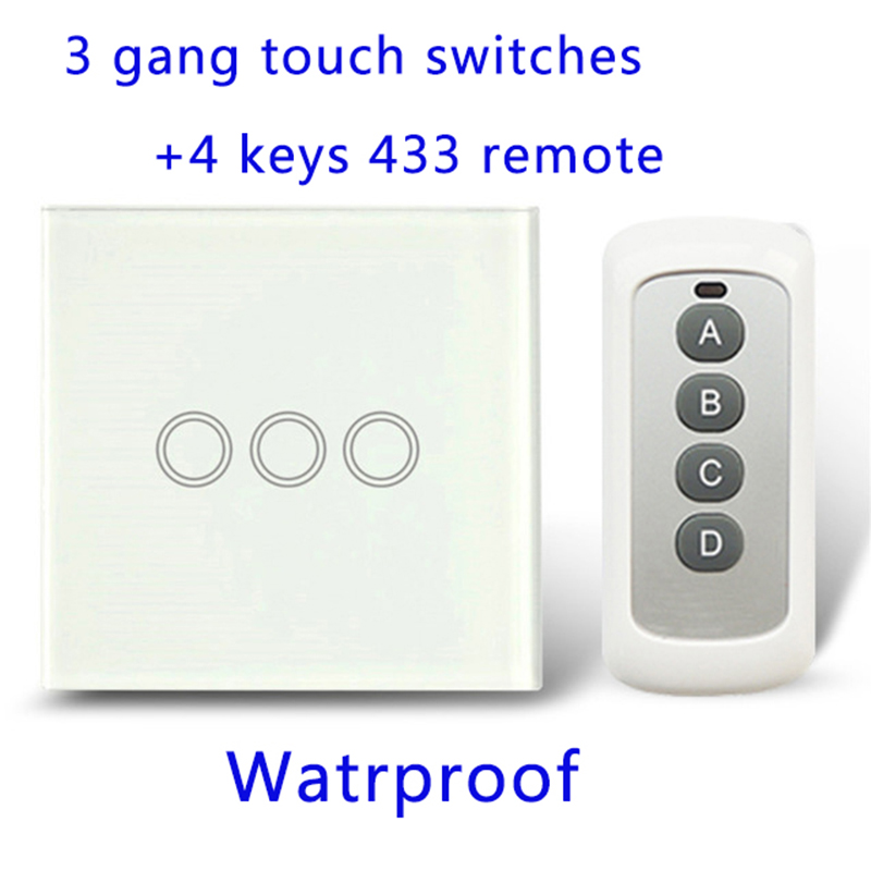 Remote Control Touch Switches Panel Light Wall waterproof crystal glass 3 Gang 1 Way 433MHz.EU/UK standard With Pilot 3gang1way uk wall light switches ac110v 250v touch remote switch