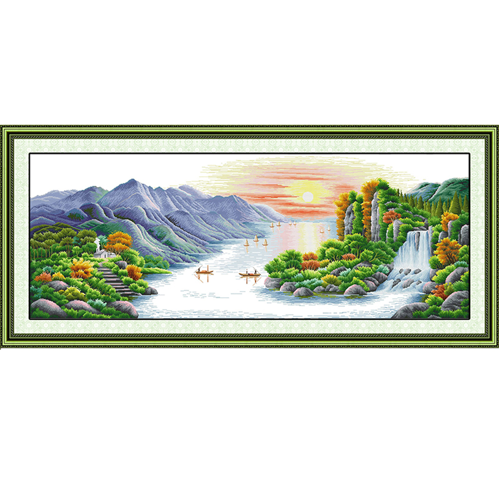 NKF Picturesque Scenery Handcraft Needlepoint Kits Counted Stamped Canvas Christmas Cross Stitch Sets for Home Decor