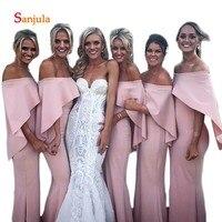 Лодка шеи с плеча платья невесты розовый оборками рукав часть специальные Нарядное платье для девочек фрейлина платья D149