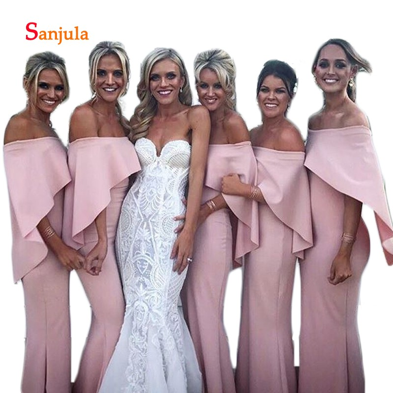 Boat Neck Off the Shoulder   Bridesmaid     Dresses   Pink Ruffles Sleeve Part Special Occasion   Dress   for Girls Maid of Honor Gowns D149