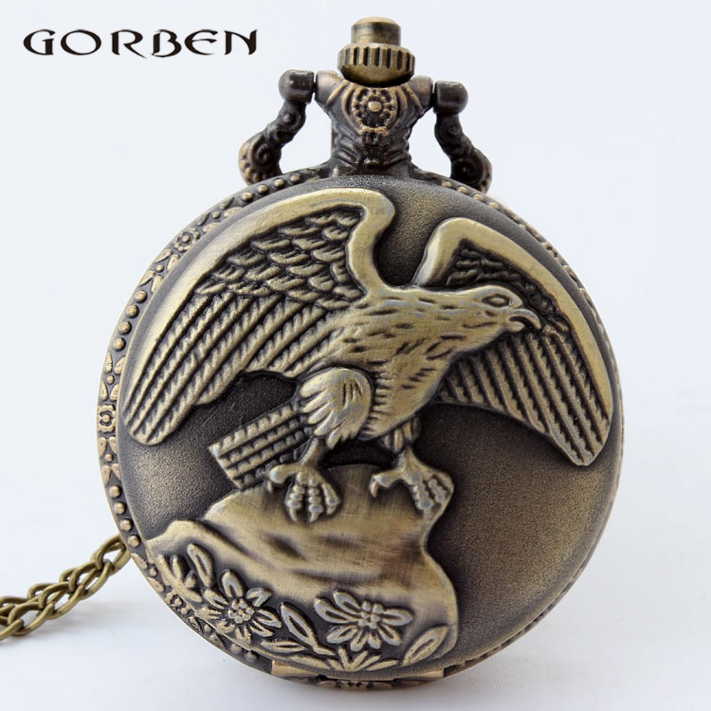 Retro Dropshipping Pocket Watch Vintage Eagle Bronze Quartz Big Bird Carving Laser Engraved Pocket Watch Necklace Chain Gift P48