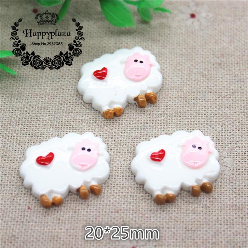 10pcs Kawaii Resin Animal Little Sheep Flatback Cabochon Charm DIY Phone/Craft Decoration,20*25mm