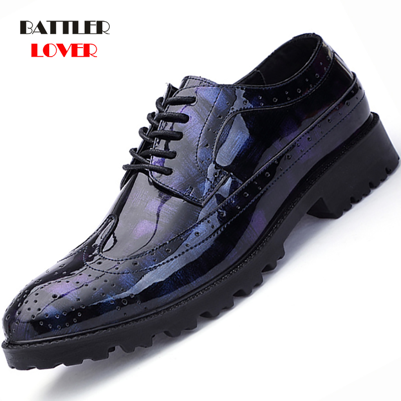 black blue cool desinger brogue oxford shoes for men italian formal ballroom dress footwear new male patent leather flats shoes