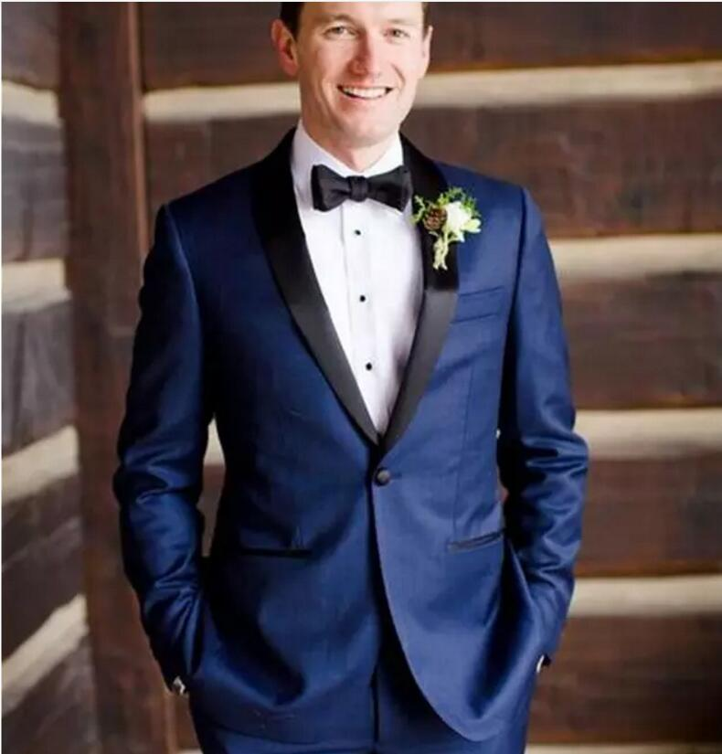 Custom Made Costume Slim Fit Groomsman Suit For Men Navy Blue Best Men Suit Wedding Men's Suits(Jacket+Pants)