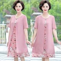 Summer Dresses For Women 2019 New O Neck Half Sleeve Floral Print Dress Fashion Chiffon Party Dresses Vestidos Plus Size