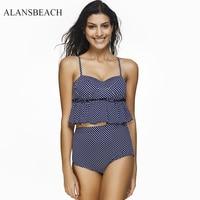 ALANSBEACH High Waist Bikini Set Sexy Padded Swimsuit Swimwear Sport Bikini Female Wear Beach Bathing Suit