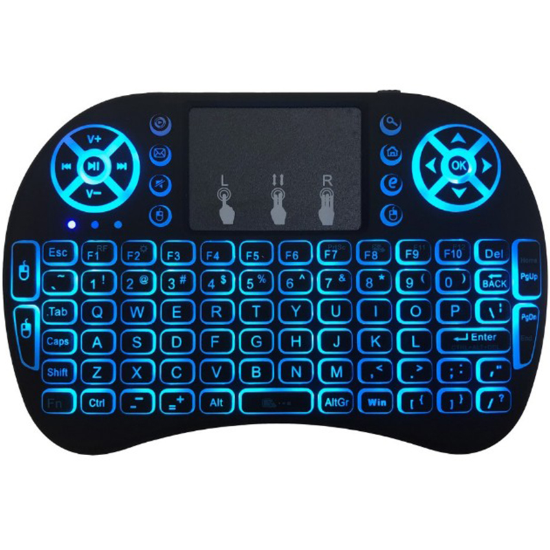 цена на Rii i8 Flying Mouse Keyboard Russian 2.4Ghz Three-finger Touch Lithium Battery Version Three-color Backlight Touch Air Mouse