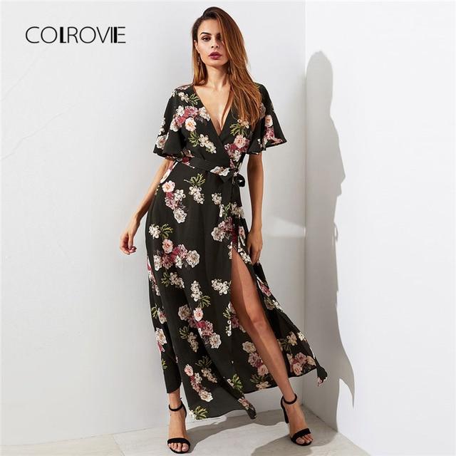 44fc46430307 COLROVIE Flutter Sleeve Surplice Wrap Woman Dress 2018 Multicolor Deep V  Neck Short Sleeve Shift Dress Belted Floral Dress
