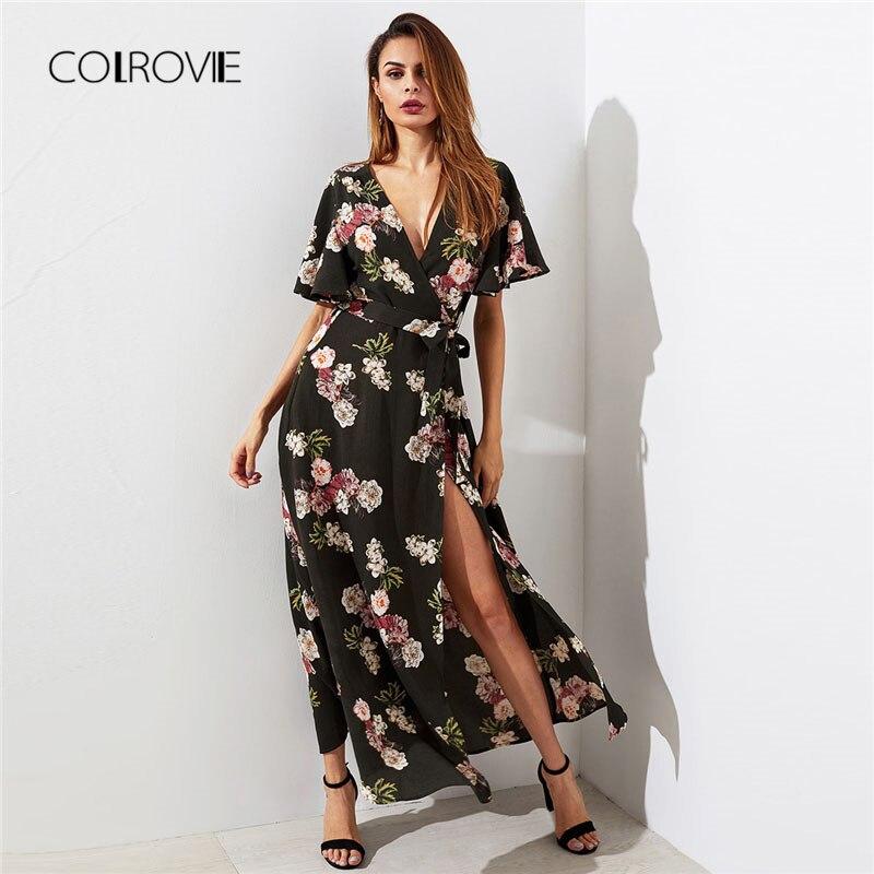 COLROVIE Flutter Sleeve Surplice Wrap Woman font b Dress b font font b 2018 b font