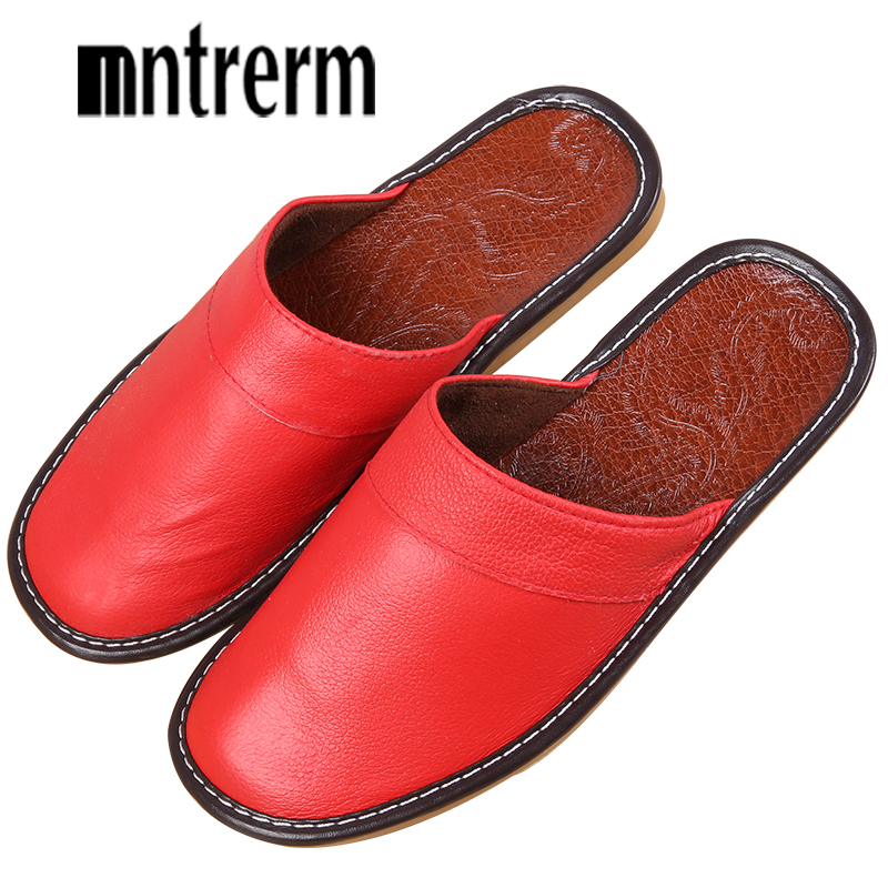 Mntrerm Men Slippers Spring And Autumn Genuine Leather Home Indoor Non - Slip Thermal Slippers 2018 New Hot Outside Home Shoes