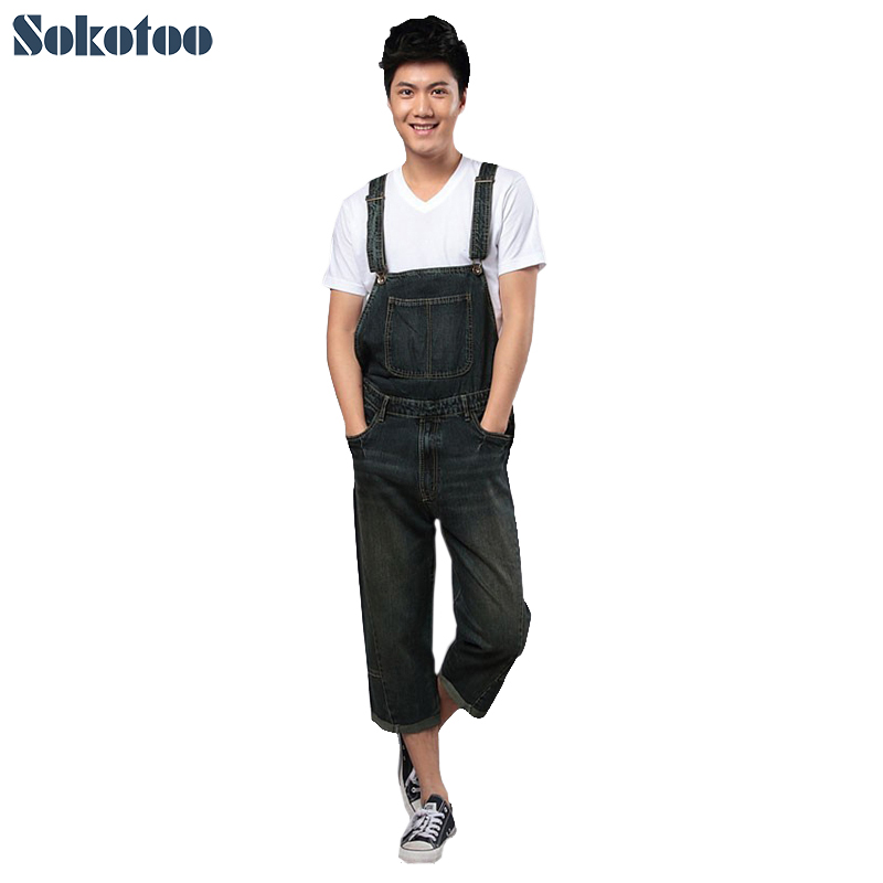 Sokotoo Men's summer denim bib pants Fashion pocket overalls one piece capris loose jeans Free shipping